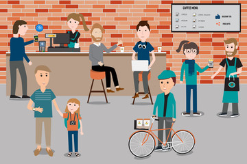 People meeting in the smart coffee shop infographics elements.il