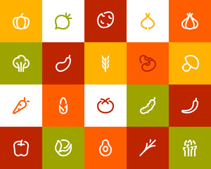 Vegetable icons. Flat style