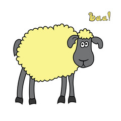 Cute fun cartoon sheep