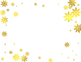 Gold glittering decoration frame with golden foil flowers isolated on white background, vector design elements