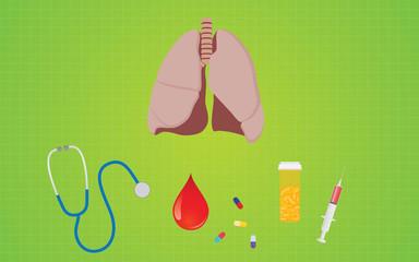 bronchitis disease with lunge stethoscope medicine shrine pills