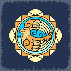 Образ Орла цветной в геометрической композиции на темном фоне