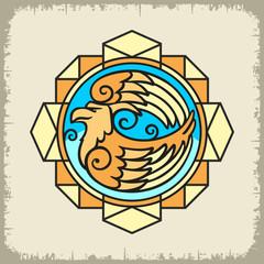 Образ Орла цветной в геометрической композиции на светлом фоне