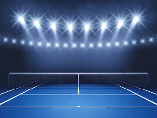 Tennis court and spotlights , Tennis tournament