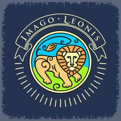 Образ Льва цветной,надписи на темном фоне