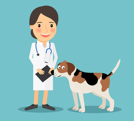 Female Veterinarian Doctor with a dog. Veterinary concept colorful icon on light blue background. Vector illustration