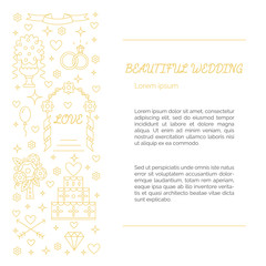 Wedding card made in gold line style.