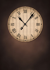 Grunge old vintage clock with brick wall background