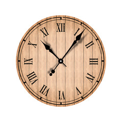 Grunge old vintage clock with wood texture