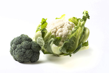 Broccoli and cauliflower isolated on white background