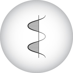 Physics graphic sign simple icon on round background