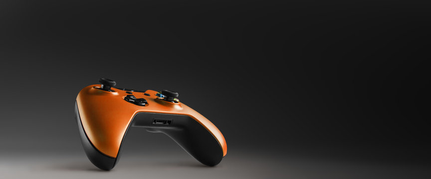 Video game controller isolated on darkness background