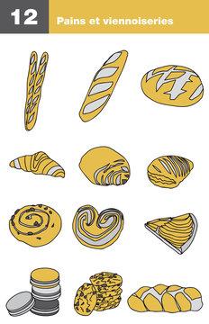 Icônes pain et viennoiseries, boulangerie