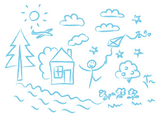 children drawin blue symbols vector set