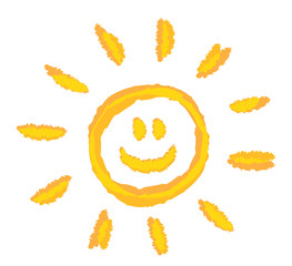 children drawing bright sun symbol vector