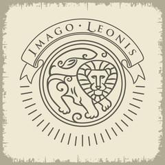 Образ Льва, надписи на светлом фоне