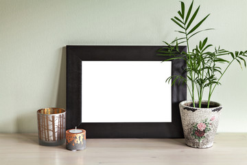 Candle holders and frame mockup scene