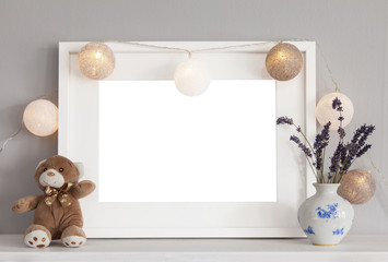 White frame and teddy mockup