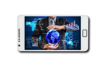 Business through screen mobile phone