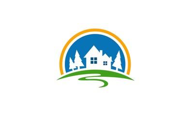home building road nature logo
