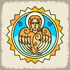 Образ Ангела цветной в солнце на светлом фоне