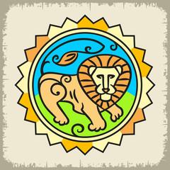 Образ Льва цветной в солнце на светлом фоне