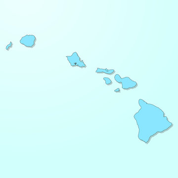 Hawaii blue map on degraded background vector