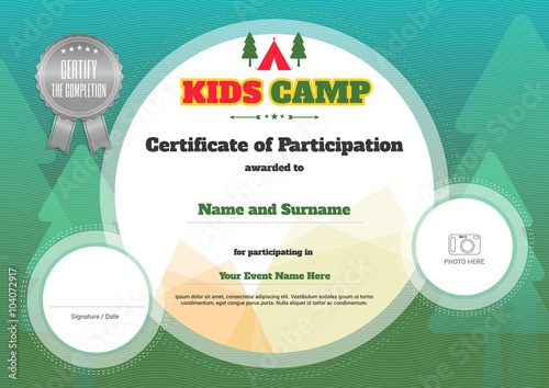 Kids certificate template in vector for camping participation kids certificate template in vector for camping participation yadclub Images