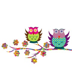 Patterned cartoon owls on a branch