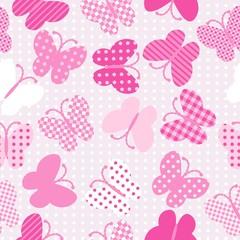 Pink patterned butterflies seamless