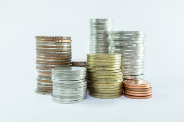 Stack of Coins isolated on white background - business finance concept