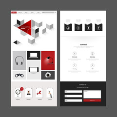 One page website design template. Vector Design.