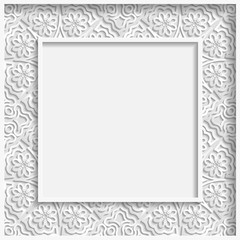 3D Vector bas-relief frame, floral pattern,  festive pattern, white pattern, template greetings