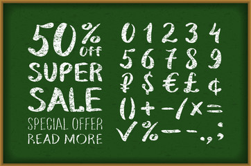 sale 50 percent drawing on blackboard. Numbers 0-9 written with a brush on a black background lettering. Super Sale. Big sale. Sale tag. Sale poster. Sale vector.