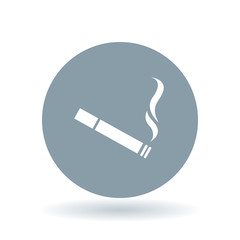 Cigarette icon. Tobacco sign. Smoking symbol. White cigarette icon on cool grey circle background. Vector illustration.