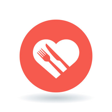 Concept eat healthy icon. Conceptual healthy diet sign. heart, knife and fork symbol. White healthy heart icon on red circle background. Vector illustration.