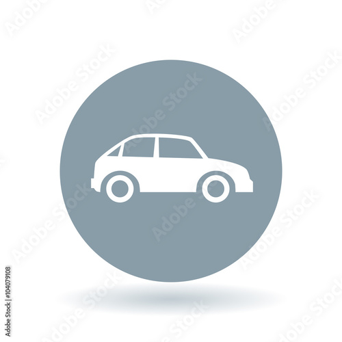 car icon motor vehicle sign automobile symbol white car icon on cool grey circle background. Black Bedroom Furniture Sets. Home Design Ideas
