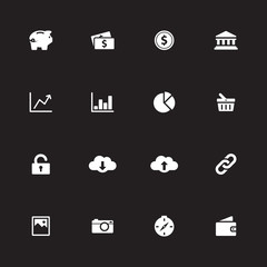 white simple flat icon set 4 for web design, user interface (UI), infographic and mobile application (apps)