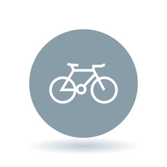 Bicycle icon. mountain bike sign. Cycle symbol. White bicycle icon on cool grey circle background. Vector illustration.