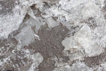 thin, fragile ice floe frozen puddle on the asphalt