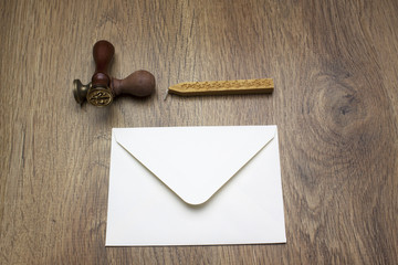 Stamp, envelope and wax