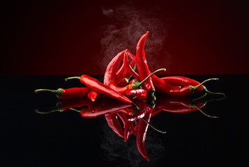 Fotobehang Hot chili peppers beam of red chilli pepper