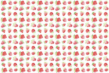 Watercolor pattern and background of strawberry