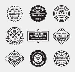 Vector set of vintage wedding badges, sings, logos.