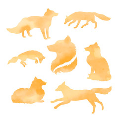 Fox set of watercolor vector silhouettes