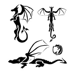 Set of vector black graphic dragons.