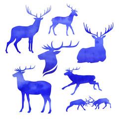 Set of watercolor deer