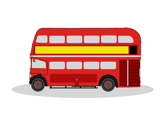 vintage red london bus illustration on white