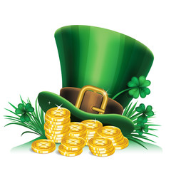 St. Patrick's Day green leprechaun hat with clover and gold