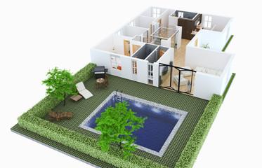Appartamento vista esterna con piscina